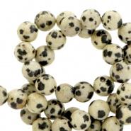 Natuursteen kraal zwart wit spotted Dalmation Jasper 4 mm