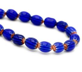 Glaskraal blauw donker stripes ovaal 8x6 mm