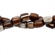 Schelp kraal bruin 4x3,5 mm tube