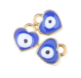 Bedel evil eye blauw goud 7 mm hartje