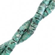 Natuursteen kralen disc 4 mm groen reef marble