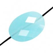 Facetkraal blauw turquoise licht ovaal