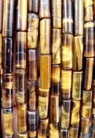 Natuursteen kralen tubes bruin zwart