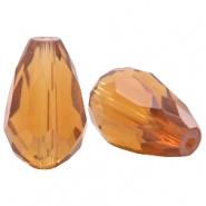 Facetkraal bruin ginger gold licht druppel 8x11 mm