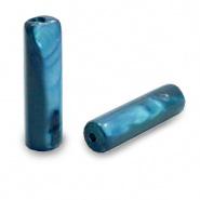 Schelp kraal blauw evening 14x4 mm tube