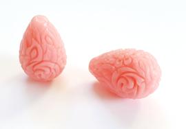 Koraal kraal bloem druppel carved roze hot
