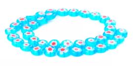 Millefiori kralen bloem blauw wit rood 10 mm disc