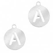 Bedel initial letter A zilver RVS
