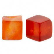 Natuursteen kralen square rood fire 4 mm