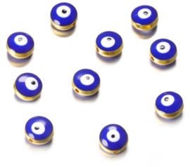 Evil eye kralen blauw 10,5x5,9 mm goudkleurig