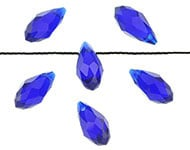 Facetkraal blauw cobalt druppel 13x6 mm
