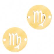 Bedel / tussenstuk sterrenbeeld Maagd goudkleurig RVS