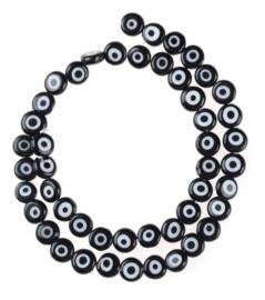 Evil eye kralen zwart 7 mm glas
