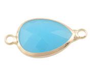 Crystal glas hanger blauw licht goud connector