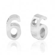 Cijferkraal 6 zilver RVS