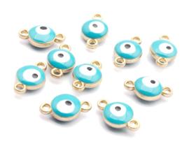 Bedel evil eye blauw aqua goud 6 mm connector