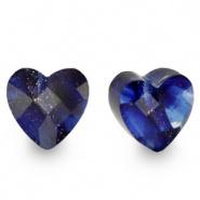 Facetkraal blauw donker glitter hart