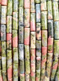 Natuursteen kralen tubes groen rood