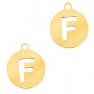 Bedel initial F goudkleurig RVS