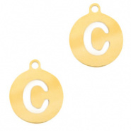 Bedel initial letter C goud RVS