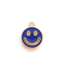 Bedel smiley blauw donker goud