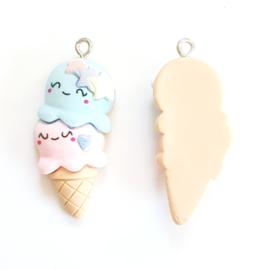 Bedel ijsje blauw roze pastel