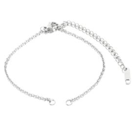 Armband 14 cm zilver RVS