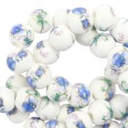Keramiek kralen wit blauw 6 mm