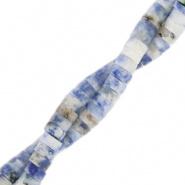 Natuursteen kralen disc 4 mm blauw dusk marble