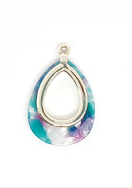 Resin hanger druppel paars turquoise