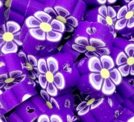 Polymeer kraal fimo bloem paars 10 mm