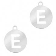 Bedel initial E zilver RVS