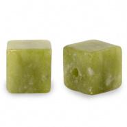 Natuursteen kralen square groen olive 4 mm