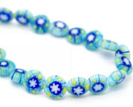 Millefiori kralen bloem blauw mint geel 8 mm disc