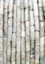 Natuursteen kralen tubes grijs zwart