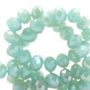 Facetkraal groen turquoise 6x4 mm 100 stuks