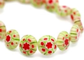 Millefiori kralen bloem groen rood 8 mm disc