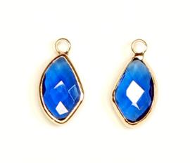 Crystal glas hanger blauw royal goud