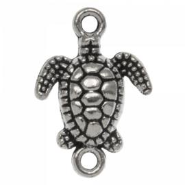 Bedel / connector / tussenstuk schildpad zilver