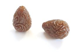 Koraal kraal bloem druppel carved bruin