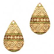 Bedel druppel aztec bruin groen goudkleurig