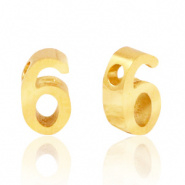 Cijferkraal 6 goudkleurig RVS