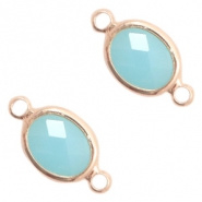 Crystal glas hanger blauw turquoise rosegold connector