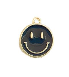 Bedel smiley zwart goud 19x16 mm