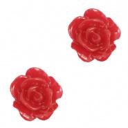 Bloem kraal rood samba roosje 10 mm