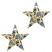 Bedel ster flowers blauw goudkleurig