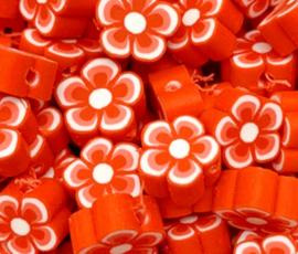 Polymeer kraal fimo bloem rood 10 mm