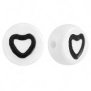Hartjes kraal wit met zwart