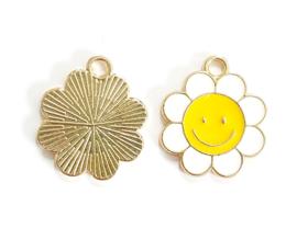 Bedel bloem smiley goud
