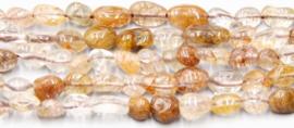 Natuursteen nugget kralen bruin Rulitated Quartz 10 stuks 4-8 mm